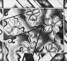 black and white abstract drawing, pen and ink by Danielle J. Scott (Smith)