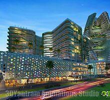 Shopping Mall Building Exterior Design Night View by 3dwalkthrough