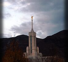 Mount Timpanogos Temple Steeple in Autumn by Ryan Houston
