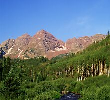 Maroon Bells and moon by Paul Gana