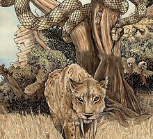 Smilodon & Titanoboa by Mike Lowe