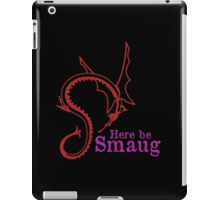 Here be Smaug - Red & Pink, for Black T-Shirt iPad Case/Skin