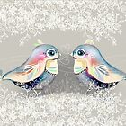 Exotic Silver Lovebirds by © Karin  Taylor
