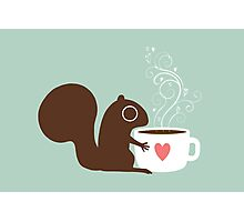 Squirrel Loves Coffee Photographic Print