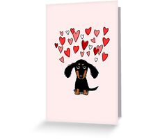 Cute Dachshund Puppy with Valentine Hearts Greeting Card