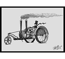 1916 HAPPY FARMER STEAMPUNK TRACTOR (Black and White) Photographic Print