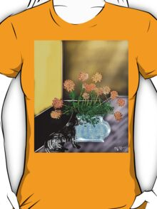 Yellow room with vase, flowers, and cat T-Shirt