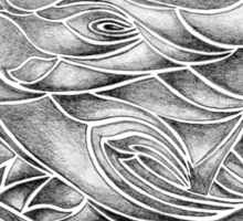 Unique Abstract Flowing Gray Black & White Drawing Sticker