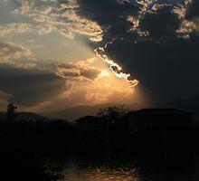 Sunset over Inle Lake, Kengtung, Burma by Thomas Entwistle