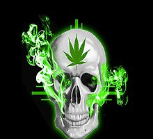 Weed Overdose Skull Green Neon mary jane smoke by WhoDunIT