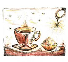 Golden Sweet Truffle with coffee by Teresa White