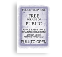 Police Telephone T-Shirt Canvas Print