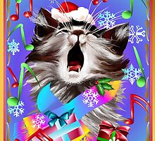Christmas Carol Singing Kitty by Lotacats