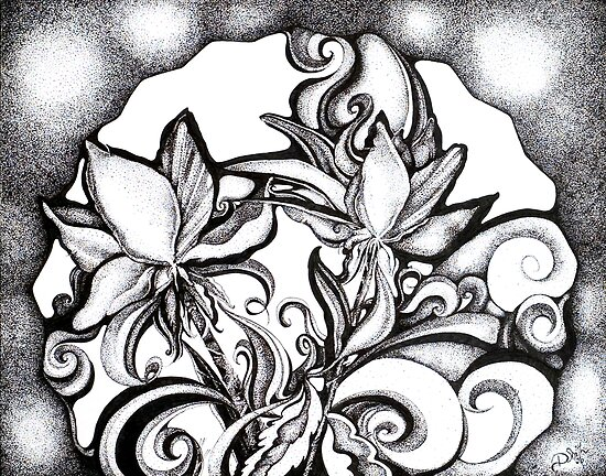 Abstract Flowers, Pointillism by Danielle J. Scott (Smith)