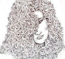 Pointillism drawing of lady by Danielle J. Scott (Smith)