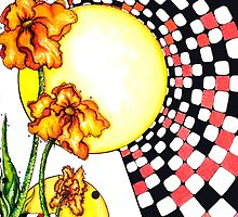 checkerboard and flowers by Danielle J. Scott (Smith)