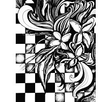 Pen and Ink Flowers on Checkerboard Photographic Print