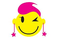 Hot pink smiley! girl winking Photographic Print