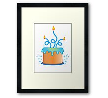 Blue twirly fancy birthday cake Framed Print