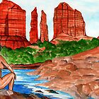 Sedona Cathedral Rock from Oak Creek  by James Peele