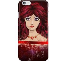 Red haired girl with floral iPhone Case/Skin