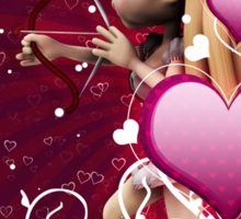Pink hearts with floral and cupid Sticker