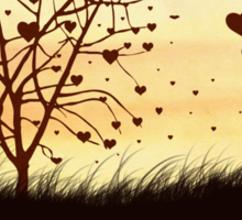 Silhouette of a girl with a heart and tree Sticker