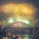 The Emerald City - New Years Eve  , Sydney Harbour    by Philip Johnson