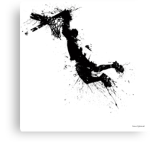 Basketball player dunk inked Canvas Print