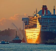 Queen Mary 2 Morning, Sydney Harbour , Sydney Australia by Philip Johnson