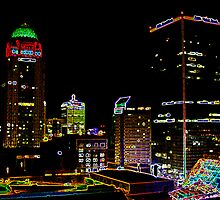 Center of a Neon City by Perspective