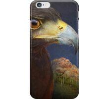 harris hawk portrait with saguaro mountain iPhone Case/Skin