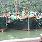 3 Fishing boats at Tai O village Lantau Island - Hong Kong by Camelot