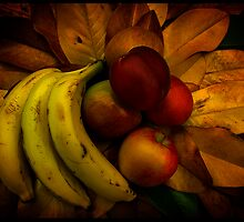 Fruit on Magnolia leaves by GlennRoger