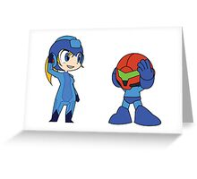 Chibi Zero Suit Samus and Megaman Greeting Card