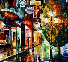 Amsterdam, Night Rain — Buy Now Link - www.etsy.com/listing/213560287 by Leonid  Afremov