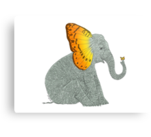 Elephant looking at Butterfly Metal Print