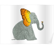 Elephant looking at Butterfly Poster