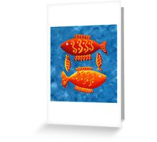 Two Big Fish and Two Small Fish Greeting Card