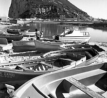 SPANISH FISHING BOATS AND GIBRALTAR by kfbphoto