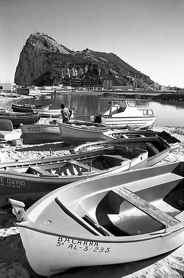 SPANISH FISHING BOATS AND GIBRALTAR by kfbphoto