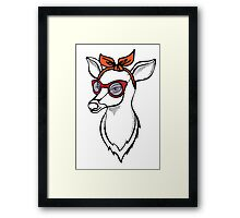 Deer girl with sunglass. Fashion stag. Framed Print