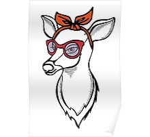 Deer girl with sunglass. Fashion stag. Poster