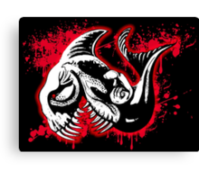 Feisty Fish Red and Black Canvas Print