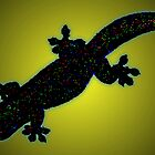 Pixelated gecko [black on yellow] by GeoGecko