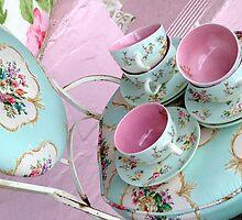 floral teacups + chair by karen tenni