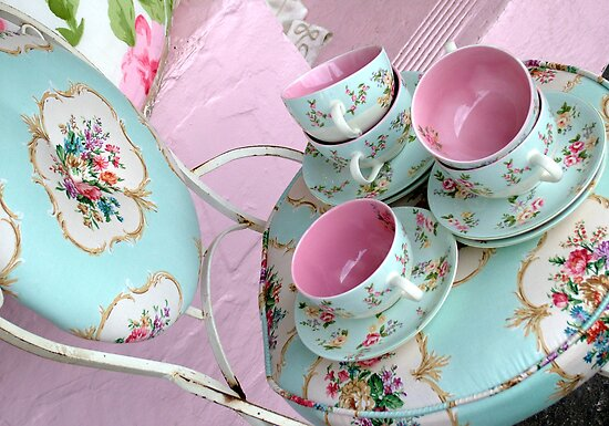 floral teacups + chair by karen tenni