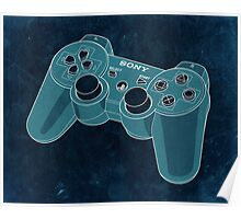 Distressed Playstation Controller in Cyan Poster