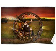 Steampunk - The gentleman's monowheel Poster