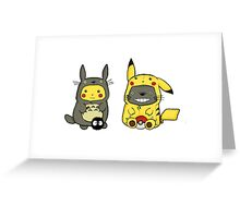 Totoro and Pikachu Onesies Greeting Card
